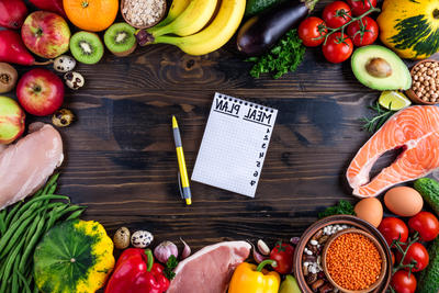 "food around a notepad that says ""meal plan"""